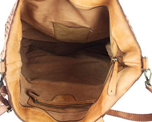 Superflybags Borsa A Mano In Vera Pelle Intrecciata Vintage modello Salamanca Made In Italy cognac
