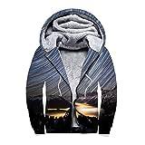 TUWEN Sweat-Shirt Digital Druck Verdickung Mit Samt Doppeldecker ReißVerschluss Kapuzen Garderobe
