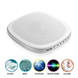 White Noise Machine for Sleeping - Sleep Sound Machines for Baby Kids Adults Office Privacy, Rechargeable Sound Therapy Machines with Natural Wind, Ocean Sound Effects