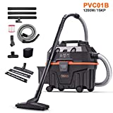 Wet and Dry Vacuum Cleaner, TACKLIFE 1200W 15L Wet Dry Vac Cleaner