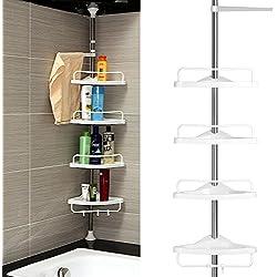 Homitex Estanterias baño triángulo 4 Niveles Gran Capacidad Acero inoxidable+plástico 85*26*6.5 cm Blanco