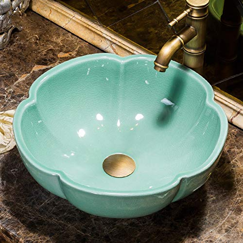 NIGHT WALL Bathroom Sink Artisan Sink Ceramic Mediterranean Petal shap evessel Sink(Green),Bathroom Vanity