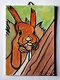 Lo Scoiattolo-Dipinto a mano su cartoncino telato,dimensioni cm 10x15x0,3 cm,pronto per essere attaccato alla parete.Made in Italy,toscana Lucca.Creato da Davide Pacini.