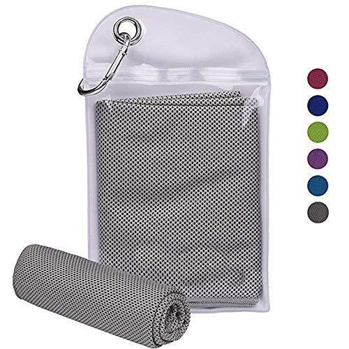 T-PROCESS Kühlendes Handtuch für sofortige Entlastung (102 x 30,5 cm) Kühl-Handtuch für Fitnessstudio, Yoga und Outdoor-Sportarten, grau -