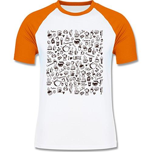 Statement Shirts - Kaffee Scribble - zweifarbiges Baseballshirt für Männer Weiß/Orange