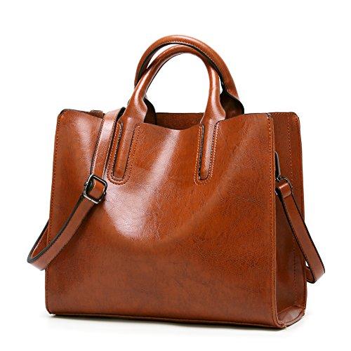 Lady Salon Damen Leder Handtasche Grosse Schultertaschen Umhaengetasche Vintage Shopper Tasche(DM302,Braun) (Lady Shopper)
