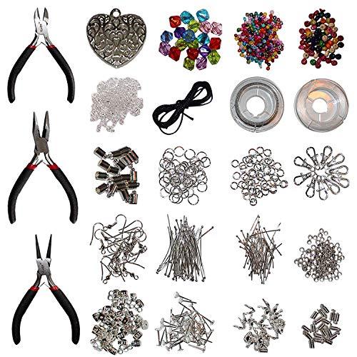 1000 teiliges Schmuckherstellungs Zubehör Set mit Zangen von Kurtzy - Versilbert und 100{ac956f47d25306ad468c47cfbb8dbd50707694a7f867f9aa2b69eddae2b0f967} Nickelfrei - Schmuckdraht, Ringe für Anhänger, Schneidwerkzeug, Perlen und Mehr - Großes Accessoires Set