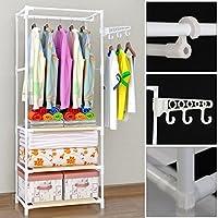 Xpork Garment Rack Tidy Rails Stand Steel Wardrobe Shelves with Hook Coat Hanger Rods Clothes Storage Shoe Organization