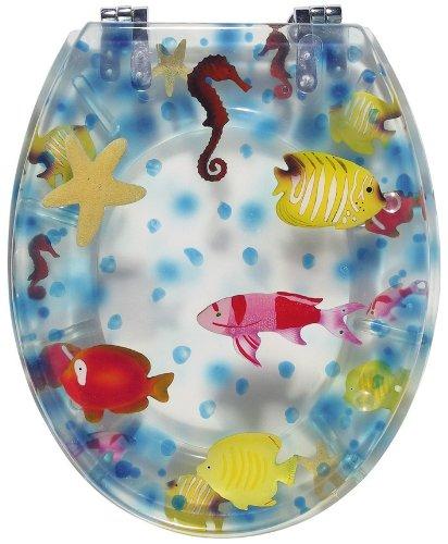 Sanitop-Wingenroth - 40466 2 - WC-Sitz Dekor Seaworld transparent - WC Brille aus Polyresin-Kunststoff & Metall-Scharnier