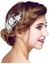 YAZILIND tocado belleza de la mujer nupcial de la boda broche de pelo broche de la fiesta blanco rhinestones flores de aleaci¨®n de accesorios de pelo