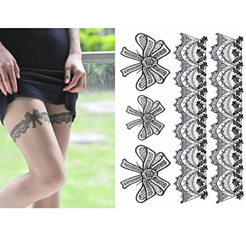 Preisvergleich Produktbild EQLEF® Frauen Beine Sexy Silk Stockings Tattoo-Aufkleber Silk Stockings Bowknot Tattoo-Aufkleber-temporäre Tätowierungen