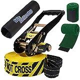 ALPIDEX Slackline 15 m 2 Tonnen + 2 x Baumschutz + Ratschenschutz, Farbe:Do not Cross. gelb