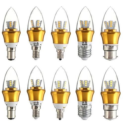 E27 E14 E12 B15 B22 LED ampoule à économie d'énergie 10W 2835 SMD LED bougie non-réglable 85-265V, or E14