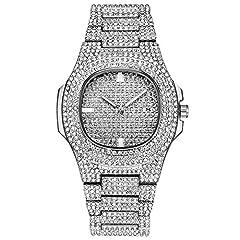 Idea Regalo - Orologi da donna Moda Donna Brillante Strass Intarsiato quadrante rotondo orologio da polso al quarzo