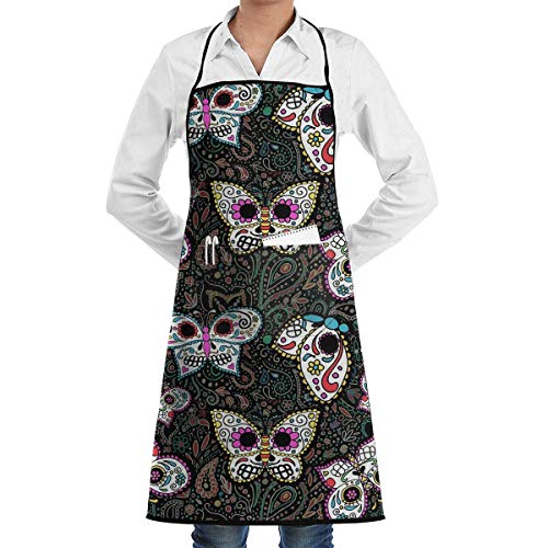 HiExotic Eco-Friendly Tiny Butterfly Sugar Skulls Apron with Pockets Locked for Cooking Baking Crafting Gardening BBQ (20.5 X 28.3 Inches)