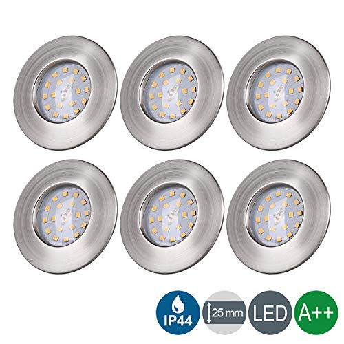 LED Einbaustrahler ultra Flach IP44 Badeinbaustrahler 5W LED Modul 230V Spots Bad Deckenspot Einbauspot Warmweiss 400LM Round Matt Nickel Deckenstrahler - 6er Set