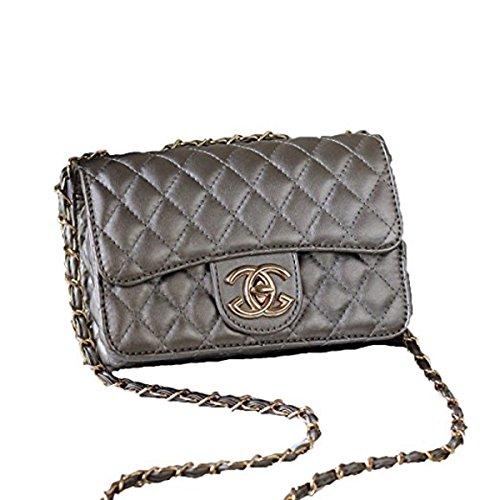 Handtaschen Messenger Bags Lingge Kette Tasche Schulter Mode Mini Tasche,Silver-OneSize (Neue Damen Mode Tasche)