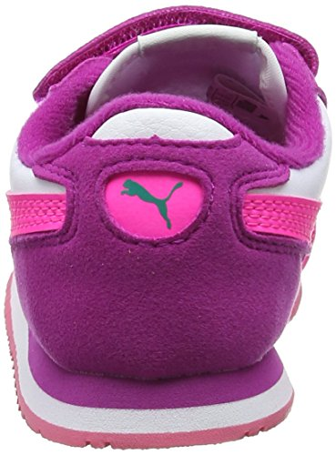 Puma Cabana Racer Sl V Inf, Sneakers Basses Mixte Enfant Blanc (Puma White-knockout Pink 50)
