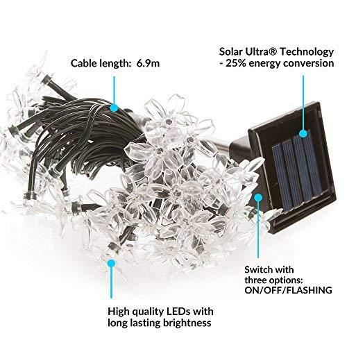 Iluminaci/ón a base de energ/ía solar para exteriores a prueba de agua Guirnaldas Solares Luminosas de 200 LEDs de Color Blanco C/álido L/ámpara de jard/ín//luz externa solar con sensor nocturno incorporado cuerdas y picos