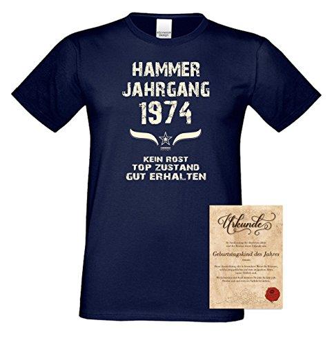 Geschenkidee zum 43. Geburtstag :-: Herren kurzarm Geburtstags-Sprüche-T-Shirt mit Jahreszahl :-: Hammer Jahrgang 1974 :-: Geburtstagsgeschenk für Männer :-: Farbe: navy-blau Navy-Blau