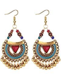 Yellow Chimes Antique Ethnic Fusion Chandbali Earrings for Women & Girls…