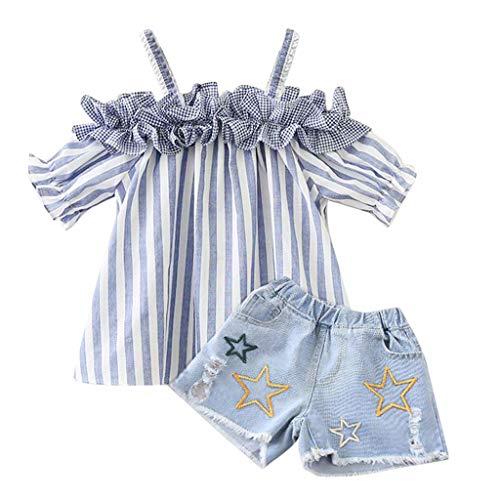 AIni Baby Kleidung, Sommer Mode Elegant Kleinkind Kinder Baby Mädchen Outfits Kleidung Streifen Plissee T-Shirt + Jeans Shorts Set BeiläUfiges Strand Kleidung (110,Hellblau) - Mädchen Kinder Für Sachen