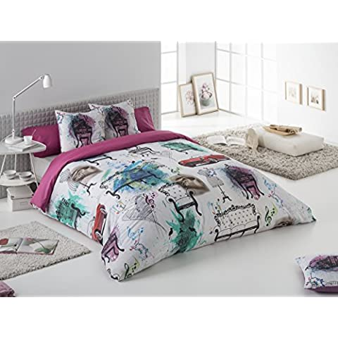 Estela Velvet Bettdeckenbezug, gemustert, Digitaldruck Cama de 150 cm (juego) Einfarbig