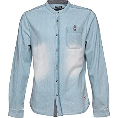 Firetrap Men's Oxna Collarless Denim Shirt Lightwash