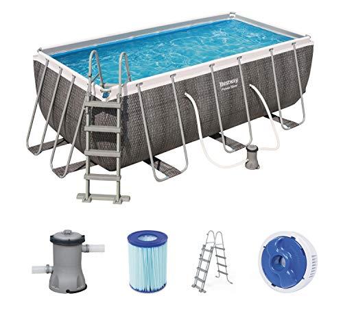 Bestway Power Steel Deluxe Frame Pool rechteckig mit stabilem Stahlrahmen im Komplett-Set, Rattanoptik, 412x201x122 cm