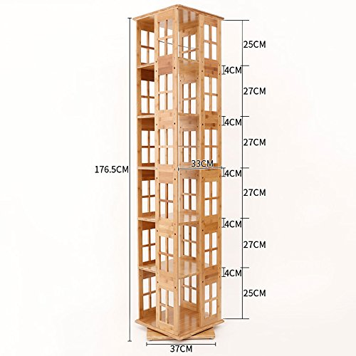 Shelf ZHANGRONG- Bücherregal Holz 3/4/5/6-Tier Bambus Casual Home Rotierende Einstellbare Bücherregal Moderne Einfache Bücherregal Storage Cabinet - Wanddekoration (Größe : 37*37*176.5cm) (6-tier-bücherregal)