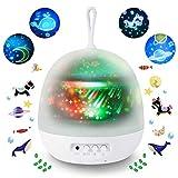 Lampada Proiettore per bambini,Sunnest 4 in 1 Lampada Proiettore di Stella ed Oceano con 8 modalità di colore Luce notturna per Bambini