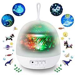 Idea Regalo - Lampada Proiettore per bambini,Sunnest 4 in 1 Lampada Proiettore di Stella ed Oceano con 8 modalità di colore Luce notturna per Bambini