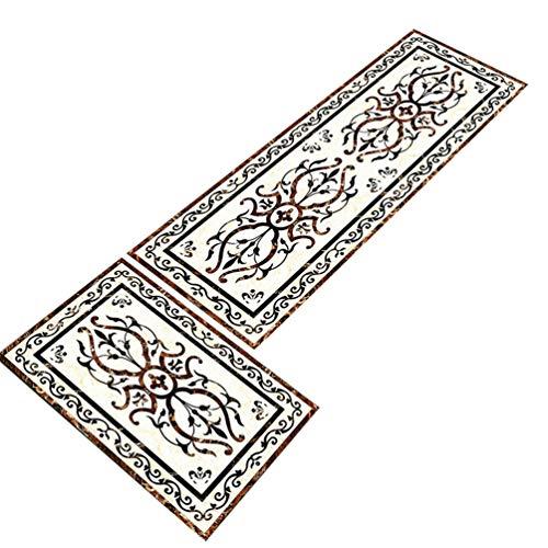 Heheja 2 Stück Küchenteppich Abnehmbaren Und Waschbaren Teppich Küchenboden Matte Muster Teppich Läufer Anti-Rutsch-Öl-Pad 8 60 * 120
