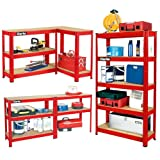 Clarke International - Estantería metálica de montaje sin tornillos (5 estantes, 800 x 300 x 1500 mm, 150 kg de capacidad), color rojo