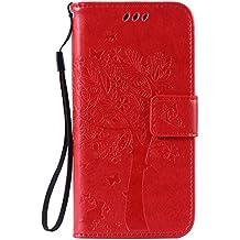 pinlu Flip Funda de Cuero para LG Nexus 5 X 5.2 Carcasa con Función de Stent y Ranuras con Patrón de Gato y Árbol Cover (Rojo)