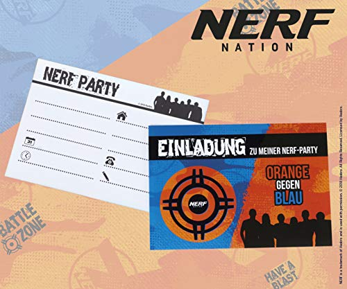 TIB Heyne 12-teiliges Einladungskarten-Set * NERF * für Party und Kindergeburtstag | Invites Einladungen Party Mottoparty Geburtstag Kinder Nitro Blaster Strike Hasbro
