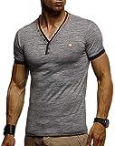 LEIF NELSON Herren T-Shirt V-Ausschnitt Sweatshirt Longsleeve Basic Shirt Hoodie Slim Fit LN1330; Größe L, Anthrazit