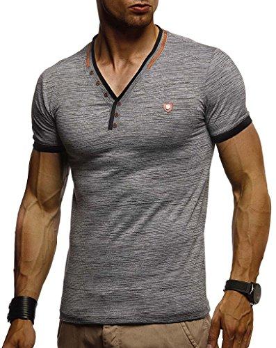 LEIF NELSON Herren Sommer T-Shirt V-Ausschnitt Slim Fit Baumwolle-Anteil | Moderner Männer T-Shirt V-Neck Hoodie-Sweatshirt Kurzarm lang | LN1330 Anthrazit Large