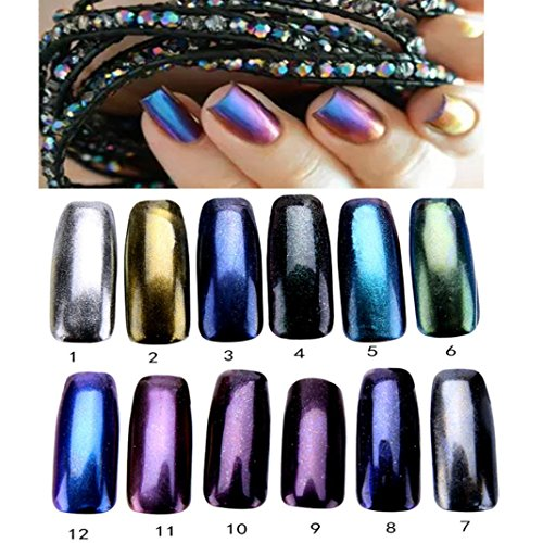 Fulltime®1g / Box Nail Silver Glitter Powder Nail Brillant Miroir Powder Makeup Art DIY Chrome Pigment