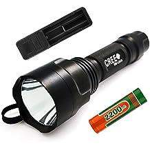 Forrader Cree XM-L2 U3 Super-brillante LED linterna antorcha Kit con una pieza recargable 18650 batería y cargador, negro