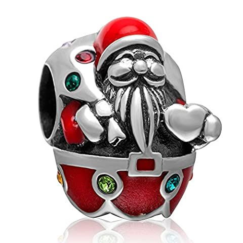Charm-Perle 925 Sterling-Silber mit weihnachtlichen Motiven (Weihnachtsmann, Rentier, Weihnachtsstrumpf), Geschenkidee für die Mutter, Ehefrau, Freundin, Schwester, Bekannte oder Tochter