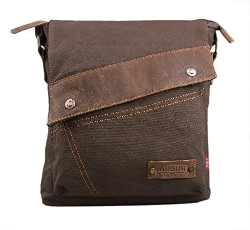 Zenness New Fashion Canvas Schultertasche Messenger Bag Lässige Umhängetasche Reisetasche (Kaffee)