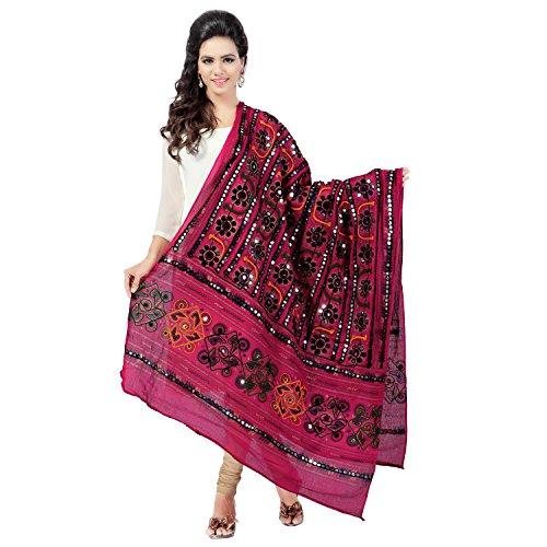 Banjara Women'S Cotton Stoles & Dupattas Kutchi Bharchak (Vip09 _Pink _Handicraft Dupatta_Free...