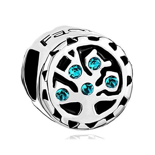 """Uniqueen – pietra portafortuna in vetro con perline, albero della vita e scritta """"family"""", adatta al braccialetto pandora, idea regalo, rame, colore: topaz blue, cod. dpc_eb165"""