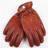 Excellent gant Gants en cuir pour hommes Gants de motocyclette pour conduite hors route antidérapante Facilité à mettre/enlever (Color : Brown-A, Size : M)