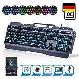 ⭐️ KLIM Tastatur – NEU 2019 – hybrid halbmechanische Tastatur QWERTZ DEUTSCH + sieben verschiedene Farben + 5-Jahre Garantie – Metallstruktur – Gamer Gaming-Tastatur für Videospiele PC PS4 Xbox One