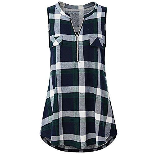 OSYARD Damen Zip Plaid V-Ausschnitt Kurzarm Casual Polo Shirt Bluse Top(EU 42/M, Grün) (Designer-kleidung Großhandel)