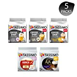 Tassimo Discover Bundle - Tassimo Coffee Shop Selections Chai Latte/Typ Flat White/Typ Toffee Nut-Latte, Kenco Flat White, LOR Double Shot Latte - 5 Paquetes (40 Porciones)