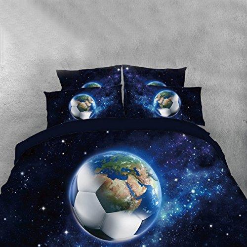 3D Fußball Quilt Set kinder erwachsenen bettwäschesatz königin bettlaken mit kissenbezug geeignet für männer geschenke, E, - Männer Twin Bettbezug