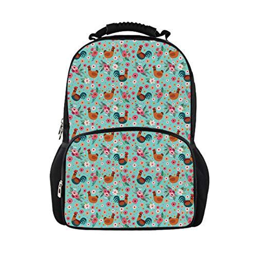 Showudesigns Kinder-Rucksack für Hochschule Mädchen mit Tiermuster, für Studenten und Teenager, Pink Grün Chicken Floral Einheitsgröße